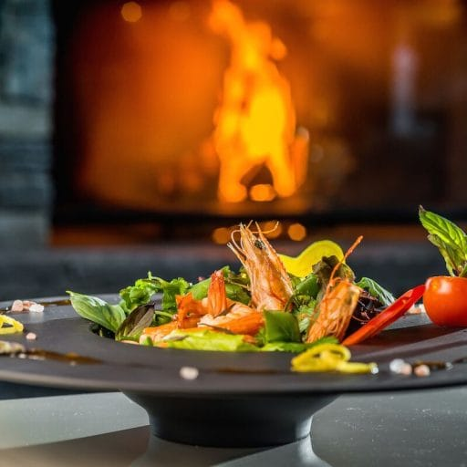 food by the fire, salad, luxury dining, luxury food, chalet holiday