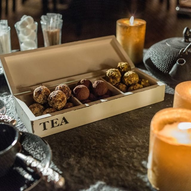 Homemade truffles, candlelit chocolate and coffee, after dinner treat