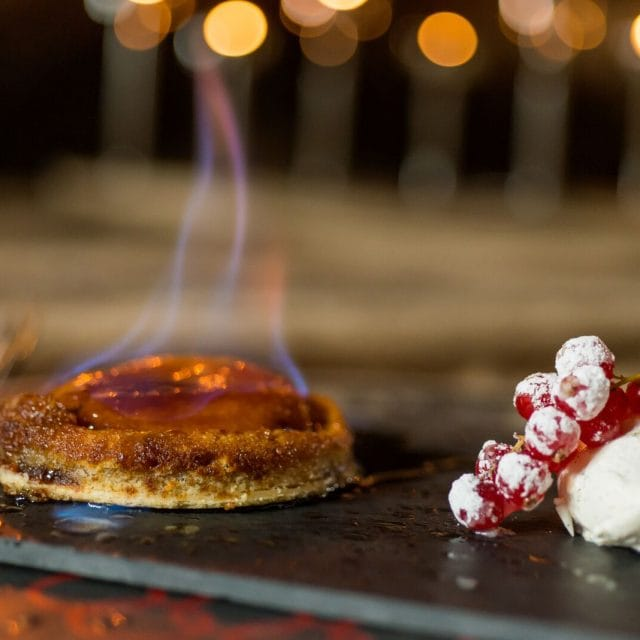 Where to eat michelin star food in the alps, food on fire, berry garnish