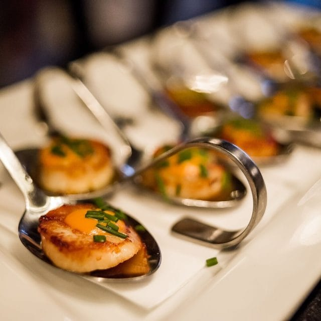scallop canape, luxury ski holiday food