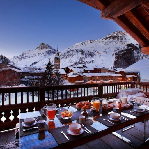 Best view for breakfast in french alps overlooking mountains, marco polo val disere