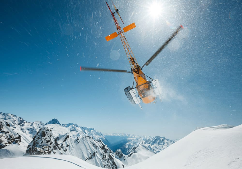 Mont blanc helicopter heli skiing private chopper