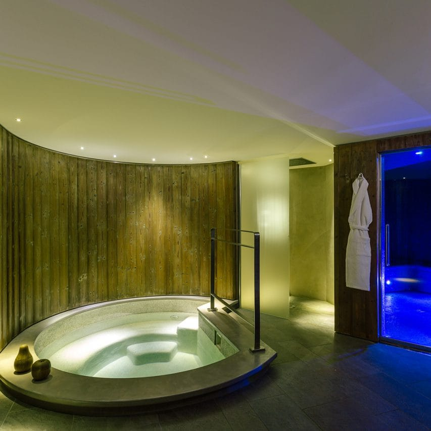 in ski chalet jacuzzi and steam room