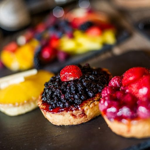 French tarts, pastries, patisserie selection