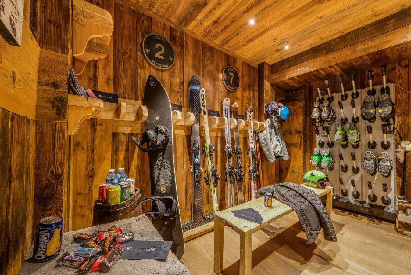 Ski room, boot room, luxury chalet holiday