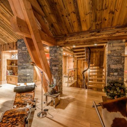 award winning, meribel, open fire, cinema, pool, spa, hottub, open plan chalet living