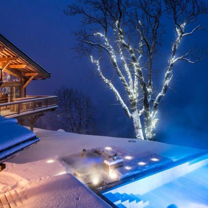 Night Pool, Grand Corniche, Luxury Ski, Romantic getaway, ultimate ski destination, environmentally friendly