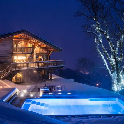Les Gets, Glass Sauna, Wine Cellar, Luxury Ski Chalet, Night time, Romantic