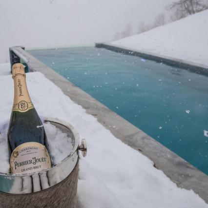 Perrier Jouet, Poolside, Champagne. Luxury Ski Holiday, Snowing picture
