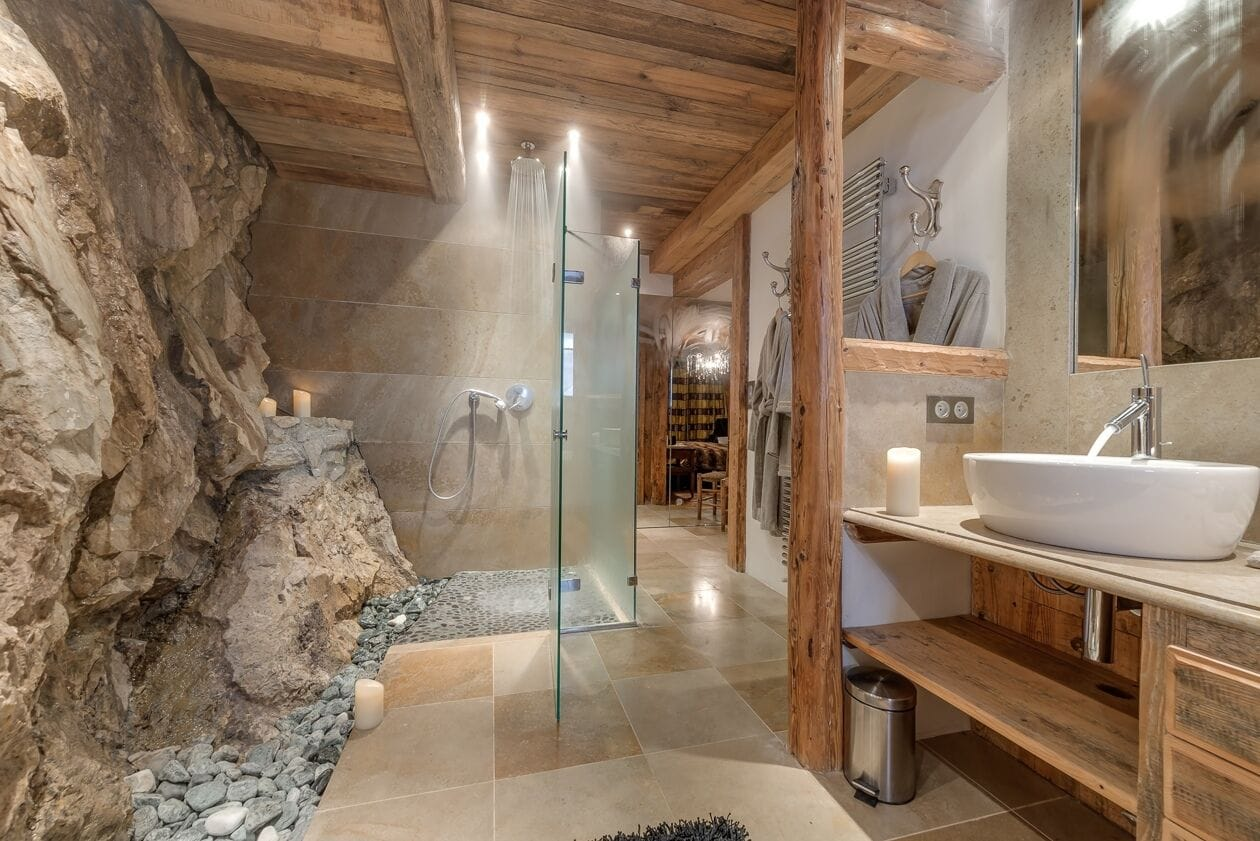 exposed rock, alternative features, interior design ski chalet