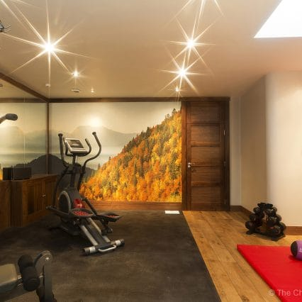 Indoor gym, ski chalet features, gym and spa in les gets