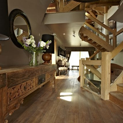 Wood features in a luxury entrance corridor, les gets best chalet