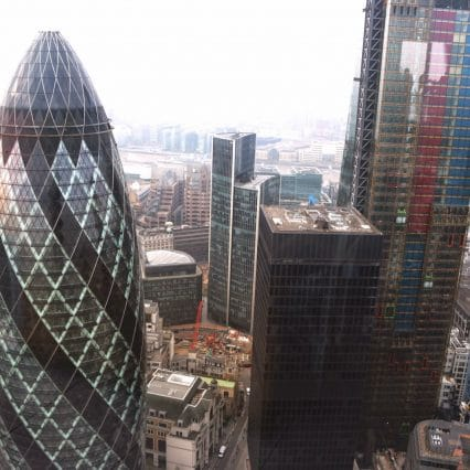 The view from duck and waffle. the gherkin london