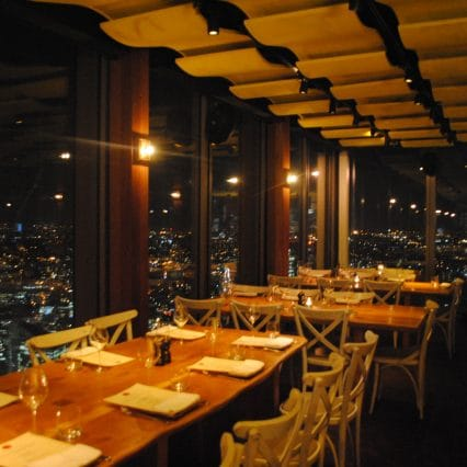 duck & waffle london view at night
