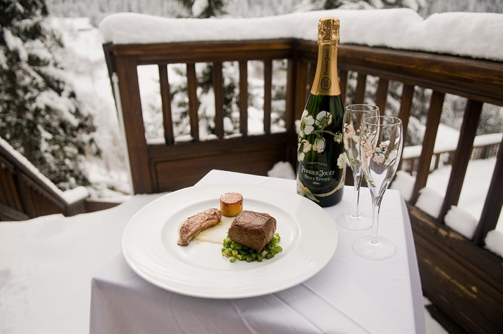perrier jouet with dinner, luxury dining with champagne