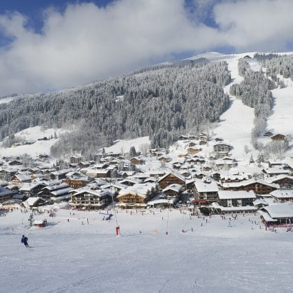Les Gets covered in snow, view from the piste