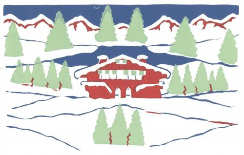 Oil Painting of a red chalet in snowy mountains, ski resort