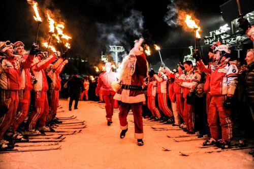 Christmas Celebrations Courchevel, Santa on skis