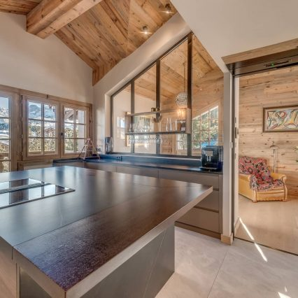 kitchen of ski in ski out chalet namaste in courchevel 1850 - consensio chalets