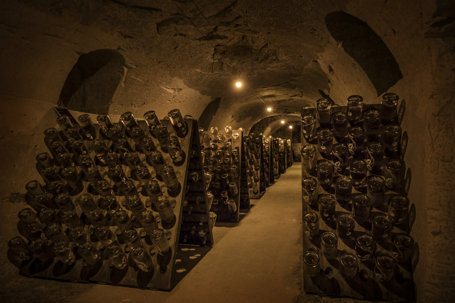 Perrier Jouet Blanc de Blancs Champagne in caves under Belle Époque