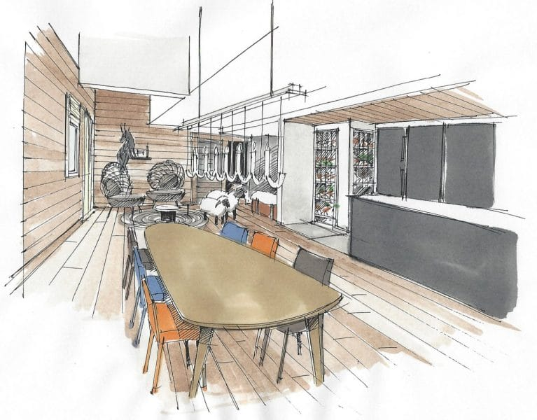 Artists impression of Ben Nevis Apartment in Les Gets showing dining table
