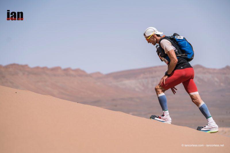 Tom Evans battling the sand dunes of the Marathon des Sables