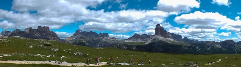 A view of the Alps in Dolomiti Bellunesi, Monte Piana, Italy.
