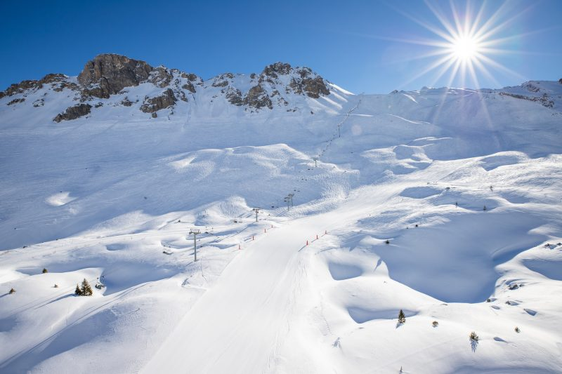 Snowy pistes in courchevel